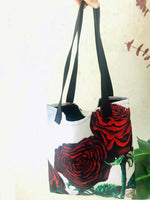 "Triple Floral Red Roses in Silver, Floral Print 15""x15"" Floral Print Tote Bag, Made in USA - alicechanart"