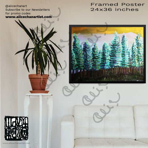 """Trees in Golden Sky"", Mountain Pine Trees, Framed Poster, Made in USA - alicechanart"