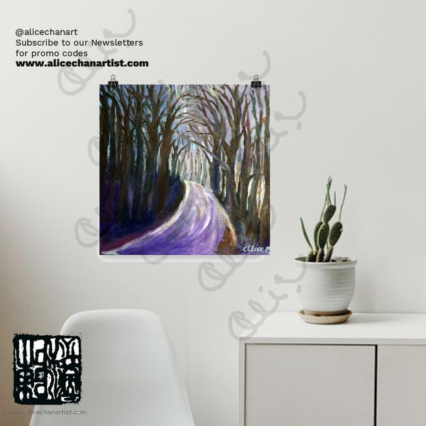 Purple Hiking Trail,Mountain Landscape, Poster Art Print,Made in USA,Mountain Poster,Camping Art,Outdoors Poster,Hiking Trails,Purple Forest Purple Hiking Trail Art Print,Hiking Gift Hiking Trail, Pine Tree Small Tree Art Print, Hiking Path Hiking Trail Art, Hiking Forest Painting