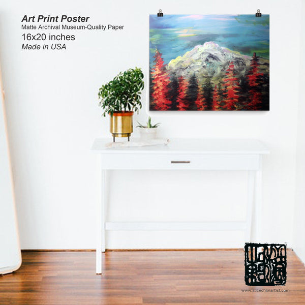 """Mount Rainier in Blue Sky"", Art Print Matte Paper Museum Quality Poster,Made in USA"