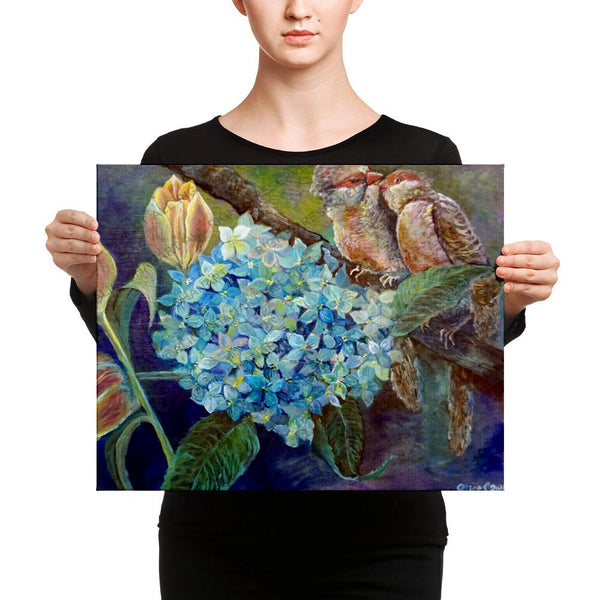 """Morning Chirping Bird,""  2018, Wildlife Bird Art, Blue Hydrangea, Canvas Art Print, Made in USA - alicechanart"