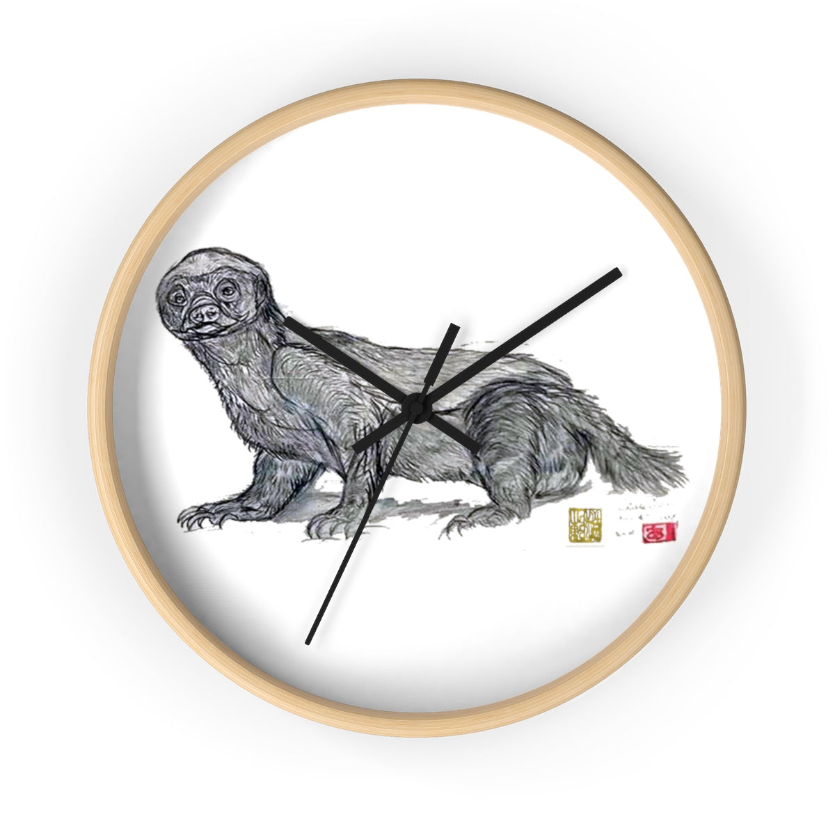 White Honey Badger Animal Artistic Fine Art Modern Unique Wall Clock- Made in USA - alicechanart