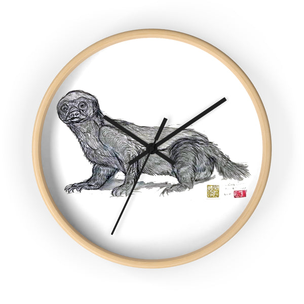 White Honey Badger Animal Artistic Fine Art Modern Unique Wall Clock- Made in USA