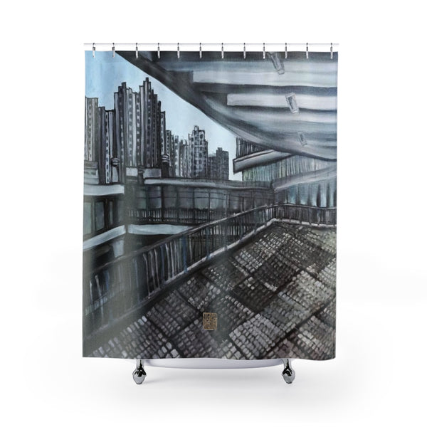 "Grey Infrastructure Art Shower Curtains, Architecture Shower Curtains, Building Art Contemporary Art Shower Curtains, Abstract Art Shower Curtains, Modern Chinese Polyester 71"" x 74"" Bathroom Curtains-Printed in USA, Long Hookless Shower Curtains, Abstract Shower Curtains For Almost Any Popular Bathroom Decor, Modern Shower Curtains, Watercolor Shower Curtains"