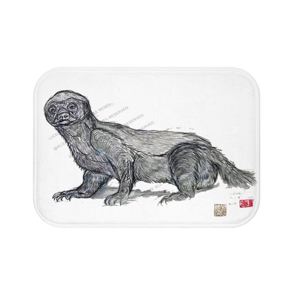 Black White Honey Badger Sketch Print Art Microfiber Anti-Slip Bath Mat-Printed in USA - alicechanart