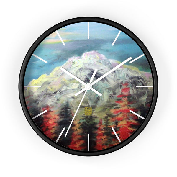 "Mount Rainier in Blue Sky, 10"" Diameter PNW Fine Art Wooden Wall Clock, Made in USA"