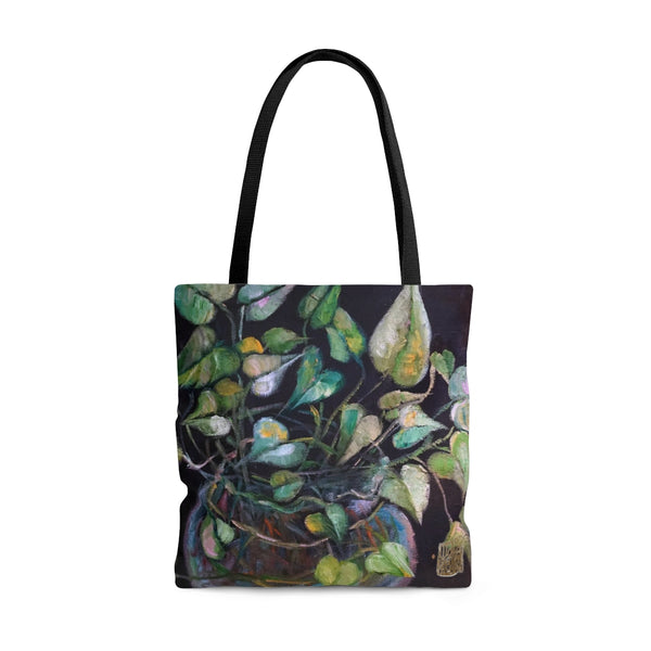 Golden Pothos Green Leaves Indoor Plants Botanical Print Designer Nature Tote Bag - Made in USA (Size: S,M,L), Plant Lady Bag, Plant Lover Golden Pothos Green Leaves Indoor Plant Print Tote Bag- Made in USA, Printed Tote Bag, Botanical Plant Tote Bag