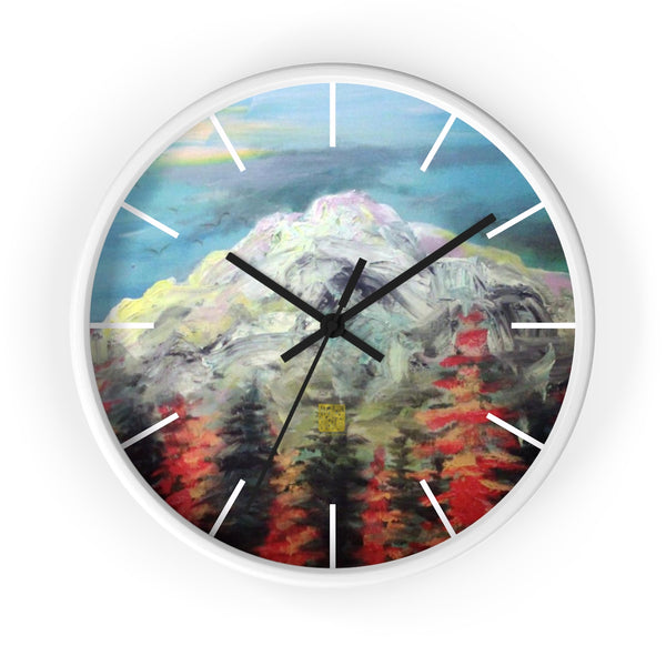 "Mount Rainier in Blue Sky, 10"" Diameter PNW Fine Art Wooden Wall Clock, Made in USA - alicechanart"