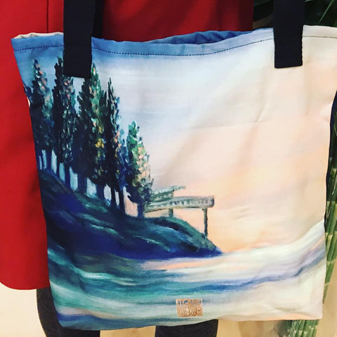 "West Seattle, Landscape Art Seattle 15""x15"" Designer Art Tote Bag, Made in USA - alicechanart"
