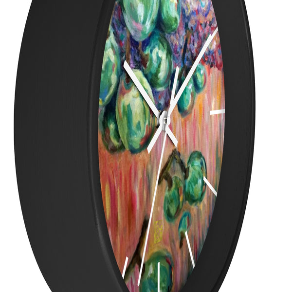 """Falling Green Grapes From The Red Hot Sky"", 10 inch Wall Clock - Made in USA - alicechanart"