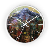 "Mountain Rainier in Yellow Sky, 10"" Diameter PNW Fine Art Wooden Wall Clock, Made in USA - alicechanart"
