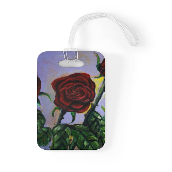 """Summer Red Roses in Purple Sky"", Glossy Lightweight Plastic Bag Tag, Made in USA"