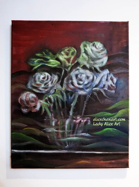 """Ghost Roses"", 16""x20"", 2016, oil on canvas, original art"