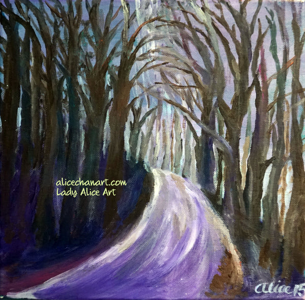 "Purple Hiking Trail, Tree Mountain Landscape, 12""x12"", 16""x16"" Canvas Art Print, Made in USA, Hiking Canvas Art, Purple Hiking Painting Art ""Purple Hiking Trail"", 12""x12"", 2015, acrylic on canvas, original art"