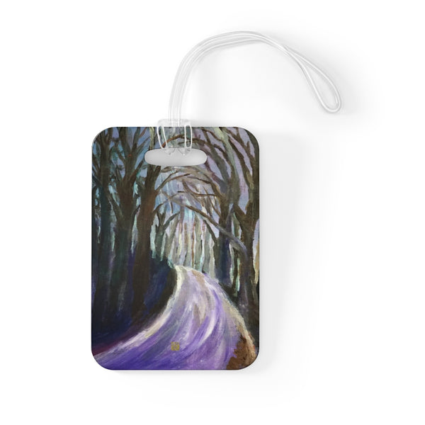 """Purple Hiking Trail"", Tree Mountain Landscape, Glossy Lightweight Plastic Bag Tag, Made in USA - alicechanart"