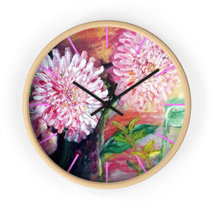 Pink Flowers Floating on the Lake, Floral Designer 10 inch Dia. Wall Clock - Made in USA - alicechanart