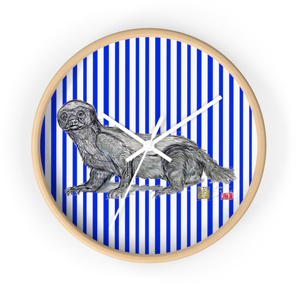 Blue Vertical Striped Honey Badger Animal Art Modern Unique Wall Clock- Made in USA - alicechanart