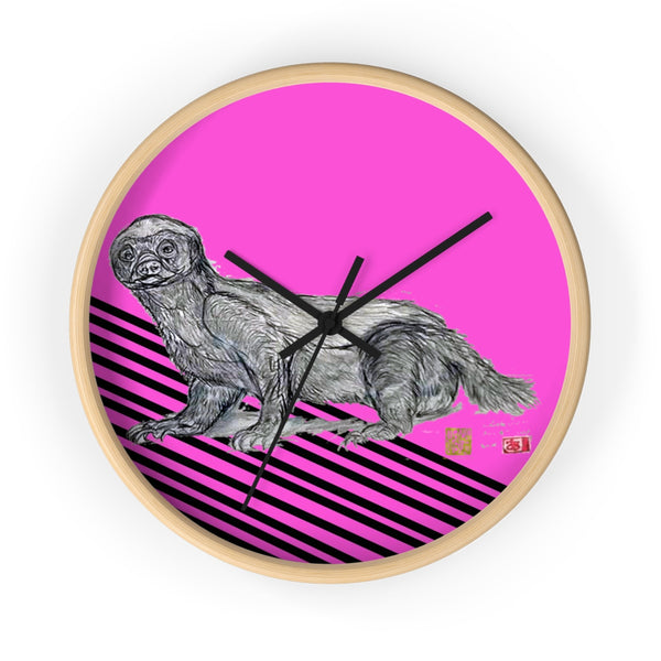 Pink Black Diagonal Striped Honey Badger Animal Art Modern Unique Wall Clock- Made in USA