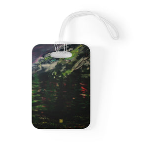 """Mountain Rainier in Purple Sky"", Glossy Lightweight Plastic Bag Tag, Made in USA - alicechanart"
