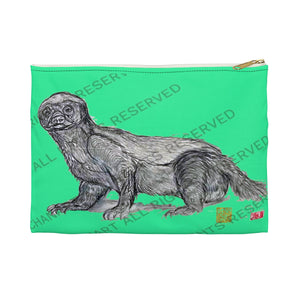 "Turquoise Blue Honey Badger Small 9""x6"" Or Large 12""x9"" Size Flat Accessory Pouch- Made in USA - alicechanart"