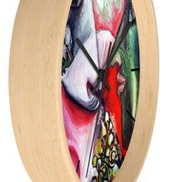 """White Horse With Green Face Man"", Abstract Colorful 10 inch Diameter Large Wall Clock , Made in USA - alicechanart"