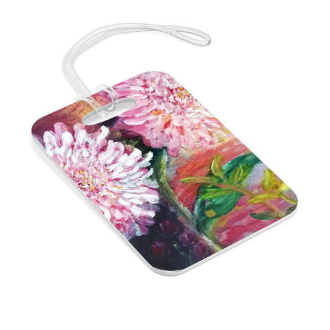 Pink Flowers Floating on the Lake, Glossy Lightweight Plastic Bag Tag, Made in USA - alicechanart