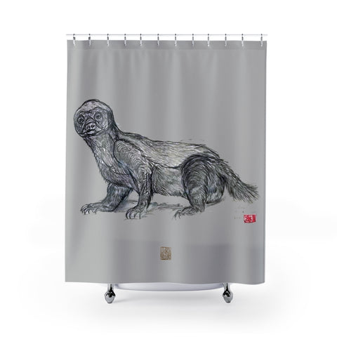 "Grey Badger Shower Curtain, Honey Badger Shower Curtains, Wildlife Art Polyester 71"" x 74"" Bathroom Curtains-Printed in USA, Long Hookless Shower Curtains, Honey Badger Animal Shower Curtains For Almost Any Popular Bathroom Decor, Modern Shower Curtains, Cute Animal Shower Curtains"