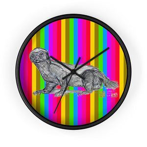 "Cute Rainbow Jamba, Honey Badger Animal Art Modern Unique 10"" Diameter Large Wall Clock- Made in USA - alicechanart"