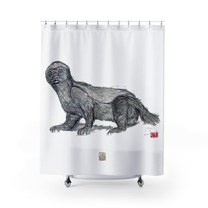 "Honey Badger Shower Curtains, Wildlife Art Polyester 71"" x 74"" Bathroom Curtains-Printed in USA, Long Hookless Shower Curtains, Abstract Shower Curtains For Almost Any Popular Bathroom Decor, Modern Shower Curtains, Cute Animal Shower Curtains"
