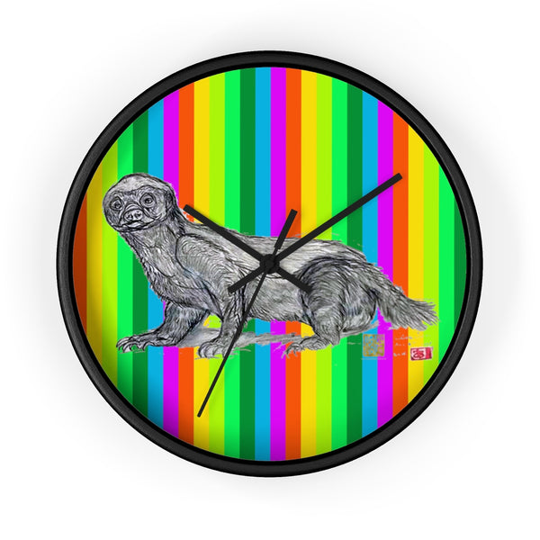 Super Rainbow Honey Badger Animal Art Modern Unique Wall Clock- Made in USA