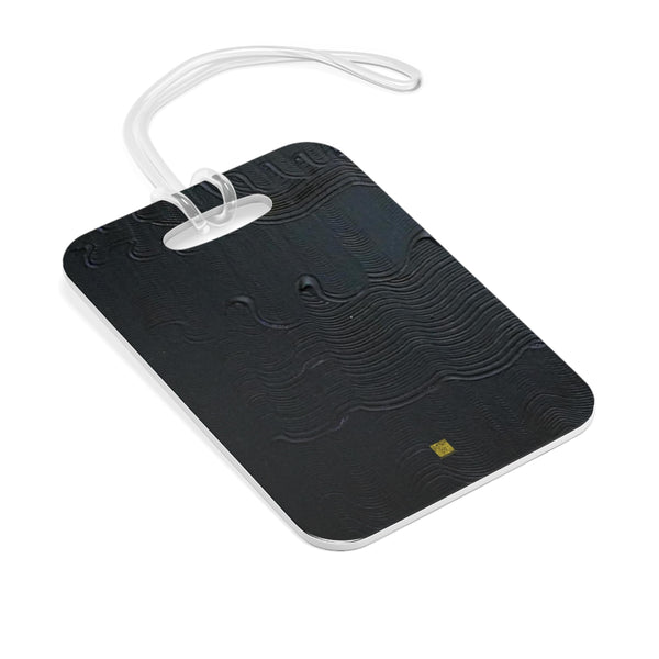 Black Mystery Modern Minimalist Abstract Glossy Lightweight Plastic Bag Tag, Made in USA - alicechanart