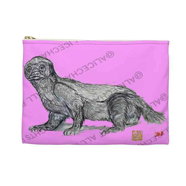"Pink Honey Badger Cute Small 9""x6"" Or Large 12""x9"" Size Flat Accessory Pouch- Made in USA - alicechanart"