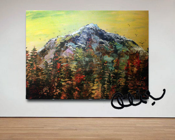 """Mountain Rainier in Yellow Sky"", 24""x36"", 2016, acrylic on canvas, original art, mountain artwork"