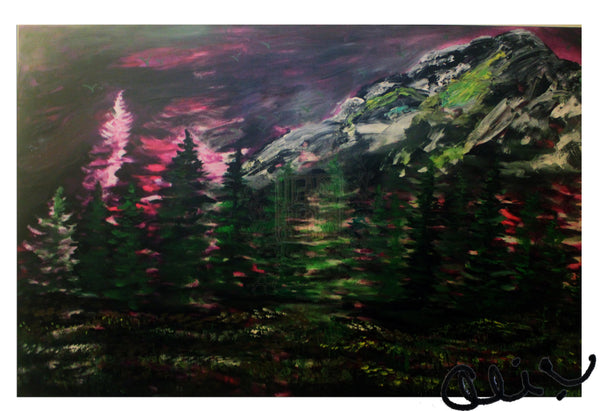 """Mountain Rainier in Purple Sky"", 24""x36"", 2016, acrylic on canvas, original art, mountain artwork"