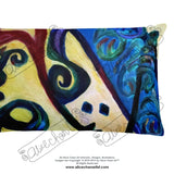 """Red Rose Abstraction of Strength in Arabic"", Designer Basic Pillow 18""x18""/ 20""x12"", Made in USA - alicechanart"