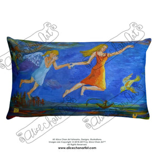 "Angels From Heaven, Angle-themed Basic Pillow 18""x18""/ 20""x12"", Made in USA - alicechanart"