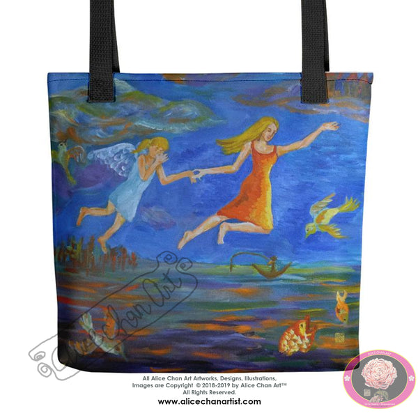 "Angels From Heaven, Designer 15""x15"" Square Surrealist Fine Art Tote Bag,Made in USA - alicechanart"