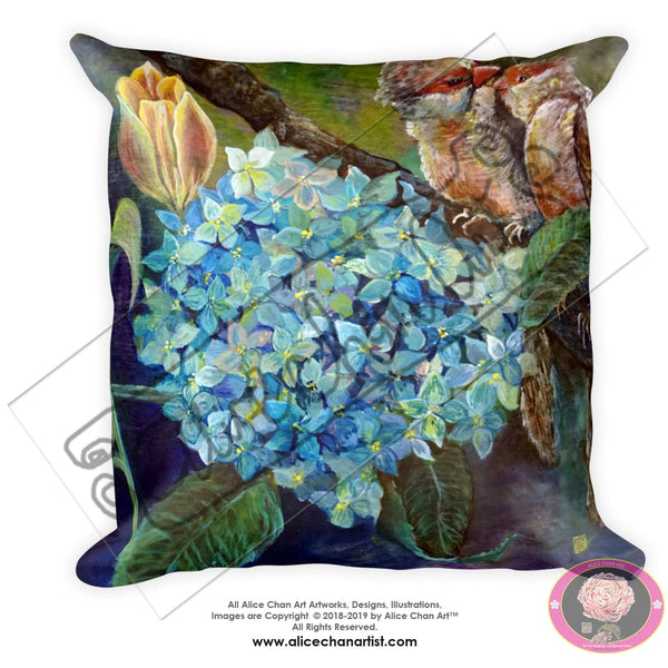 "Morning Chirping Birds, 18""x18"", 20""x12"" Hydrangea Flower and Bird Art Pillow Case, Machine Washable, Square/ Rectangular Pillow Made in USA"