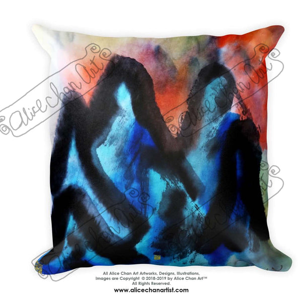 "Blue Mountain Chinese Oriental Asian Abstract Art 18""x18"", 20""x12"" Decorative Pillow, Machine Washable Cushion, Square/Rectangle,Made in USA"