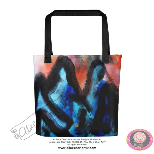 "Blue Mountain Asian Contemporary Art Trendy 15""x15"" Size Tote Bag - Made in USA - alicechanart"