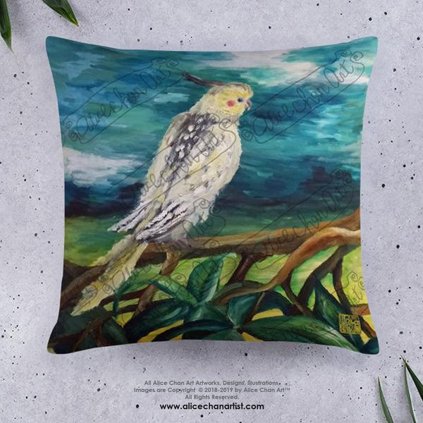 Cockatiel White Parrot Resting On A Tree Branch, Wildlife Bird Art Pillow, Made in USA - alicechanart