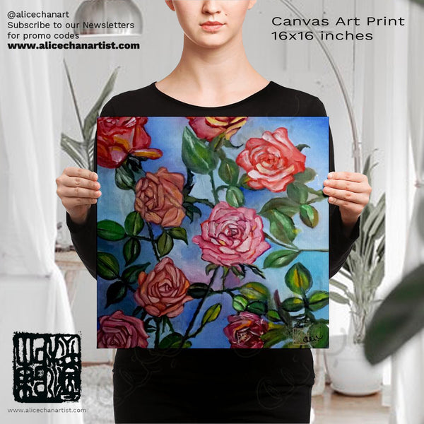 Pink Roses in Blue Sky, Rose Floral Flower Canvas Art Print, Made in the USA - alicechanart