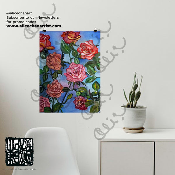 """Pink Roses Floating in Blue Sky"", Poster Art Print, Made in USA"