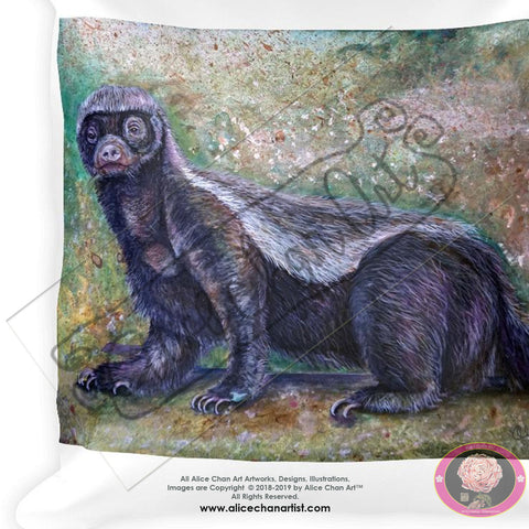 """Jambo - Honey Badger"", 2018, Designer Wildlife Basic Stuffed Art Pillow, Made in USA - alicechanart Honey Badger Art Pillow, ""Jambo - Honey Badger"", 2018, Designer Wildlife Basic Stuffed Fine Art Badger  Pillow, Made in USA/ Europe"