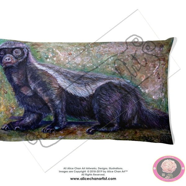 """Jambo - Honey Badger"", 2018, Designer Wildlife Basic Stuffed Art Pillow, Made in USA - alicechanart"