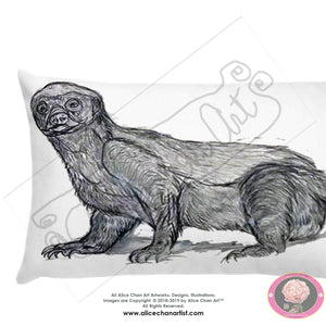 """Jambo - Honey Badger"", 2018, Wildlife Badger Basic Fine Art Soft Cushion Pillow, Made in USA - alicechanart"