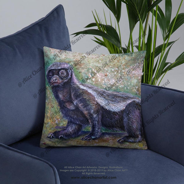 """Jambo"" Honey Badger Basic Pillow, 18""x18"" or 20""x12"" Throw Pollow Cushion, Made in USA - alicechanart"