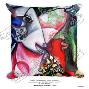 """White Horse With Green Face Man"", Abstract Basic Pillow 18""x18""/ 20""x12"", Made in USA - alicechanart"