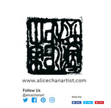 Red & Black Abstract Chinese Ink Art Print Market Designer Tote Bag- Made in USA/ EU - alicechanart
