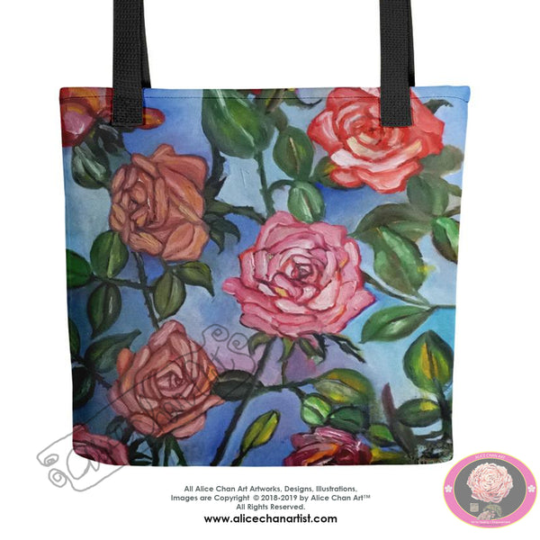 """Pink Roses Floating in Blue Sky"", 15""x15"" Square Designer Tote Bag, Made in USA - alicechanart"